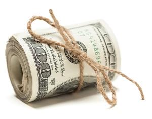 Roll of One Hundred Dollar Bills Tied in Burlap String